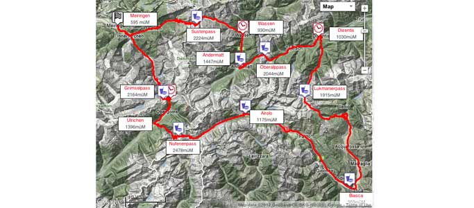 The PlatinTour route map of the Alpenbrevet | Brevet Alpine Cycling Adventures