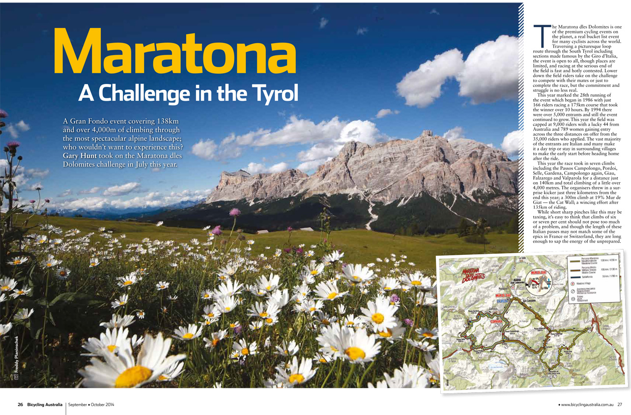 Bicycling Australia Maratona dles Dolomites Review Pages 26-7