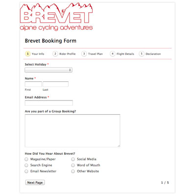 Brevet Booking Form