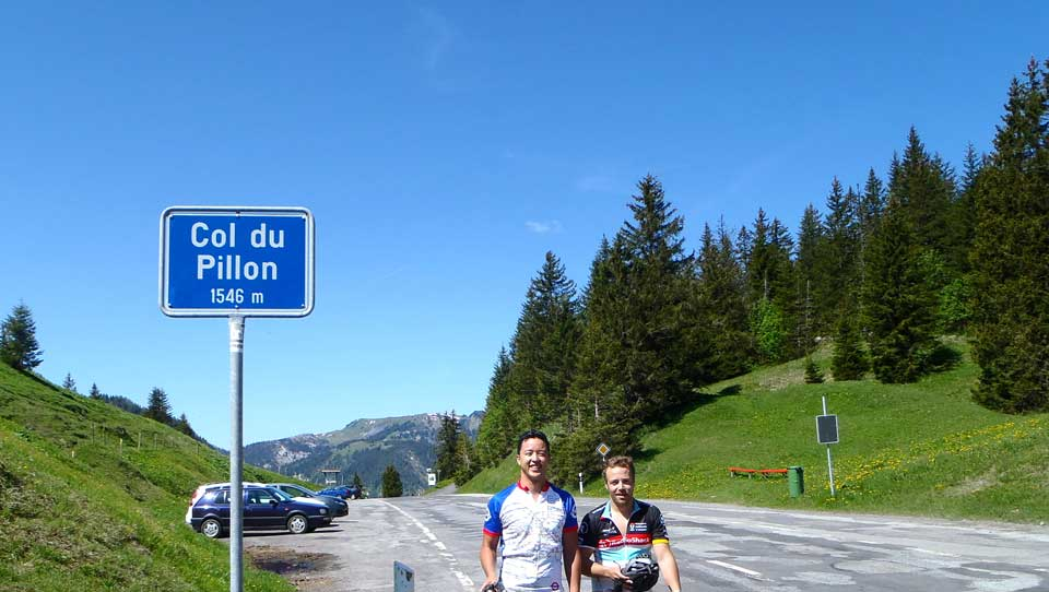Jamie and Uta at the Col du Pillon: Cycling in the Alps is challenging but with our unique professional cycling support you can surpass your expectations on a Brevet cycling holiday
