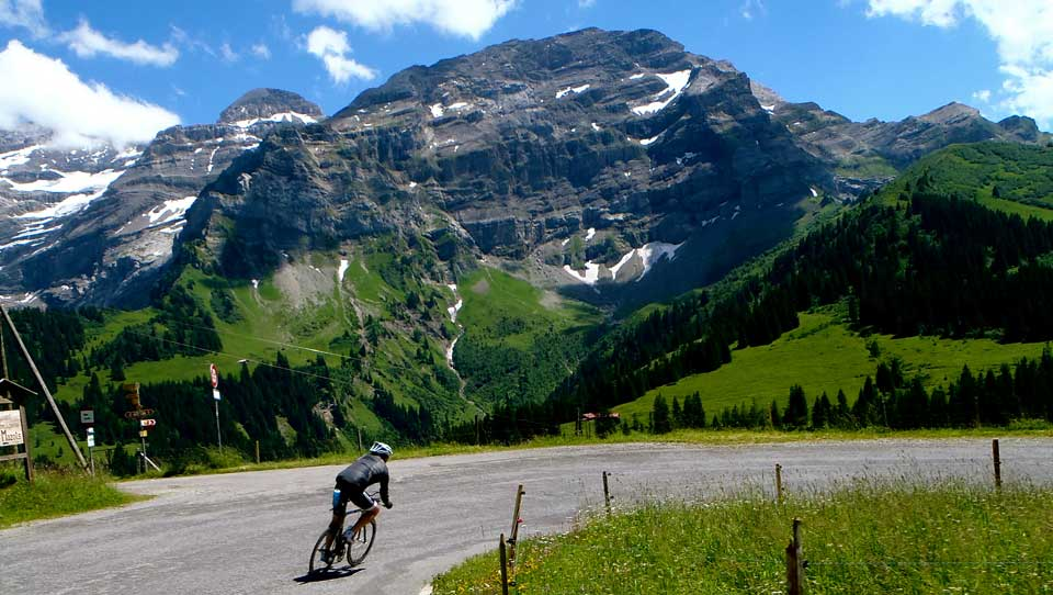Mike descends into Les Diablerets: Cycling in the Alps is challenging but with our unique professional cycling support you can surpass your expectations on a Brevet cycling holiday