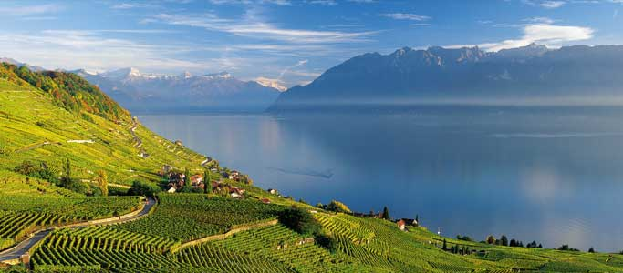 The Lavaux Vineyards are an impressive backdrop to the Cyclotour du Léman, part of Brevet's Cyclotour du Léman cycling sportive holiday.