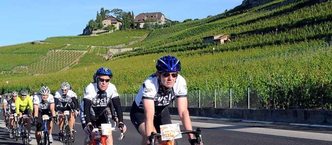 A peloton of cyclists ride through the Lavaux vineyards in the Cyclotour du Léman, part of Brevet's Cyclotour du Léman cycling sportive holiday.