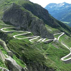 The Granfondo Gottardo features the Col du St Gothard which is the toughest climb in Brevet's Granfondo Gottardo sportive holiday