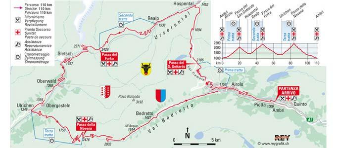 The Granfondo Gottardo route map shows the three 2,000m+ Alpine passes that you'll have to climb over Passo del San Gottardo (2,106m), Passo del Furka (2,429m) and Passo della Nufenen (2,478m)