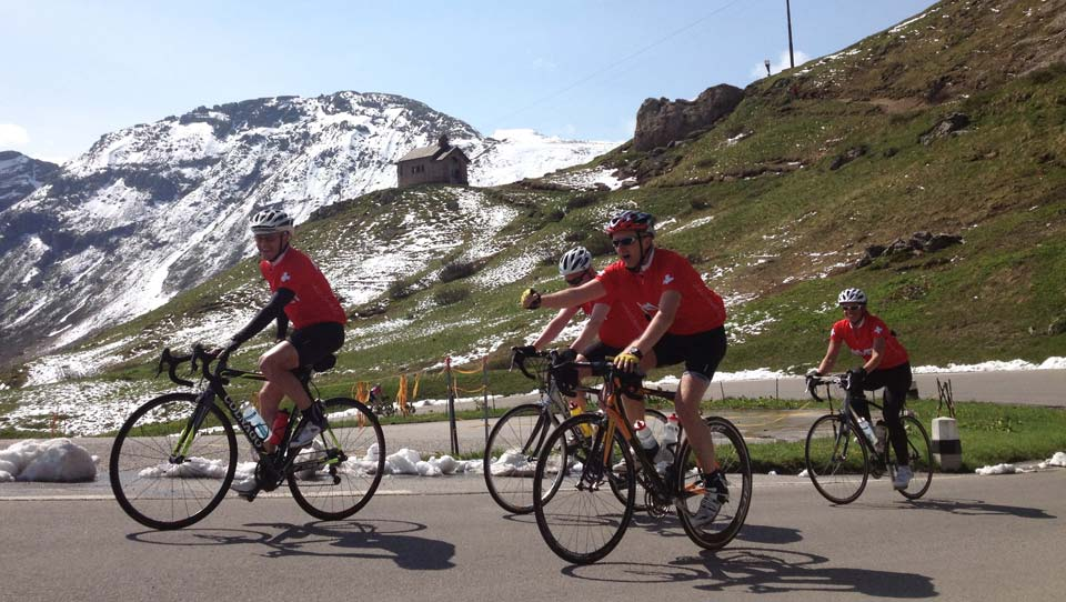 Brevet guests reaching the summit of the the Passo Pordoi