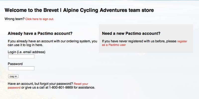 Step 2 in the Order Process for Brevet Cycle Cothing