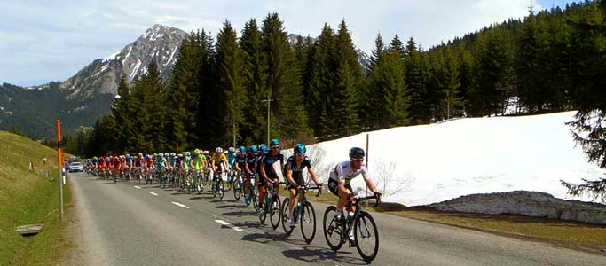 Our guests saw Team Sky's Mark Cavendish lead the Peloton over the Col des Mosses in the 2012 Tour de Romandie | Brevet Alpine Cycling Adventures